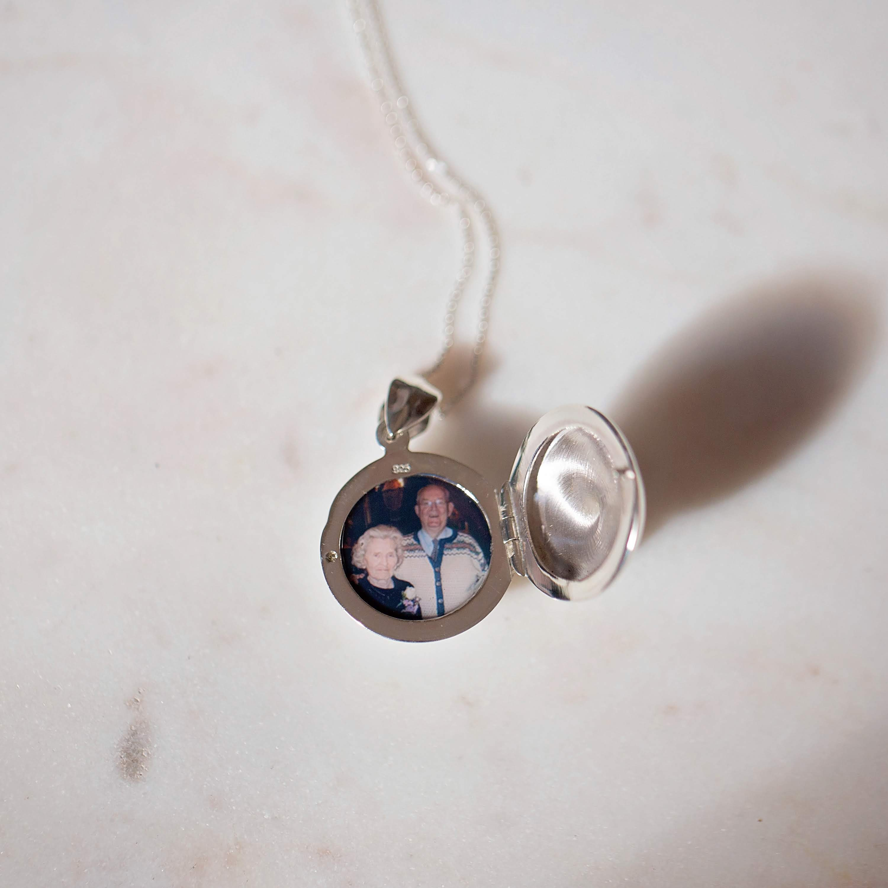 Photo of Both Grandparents as a Gift for Mom Inside Silver Locket
